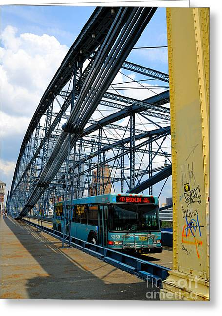 Bus Crossing The Smithfield Street Bridge Pittsburgh Pennsylvania Greeting Card by Amy Cicconi