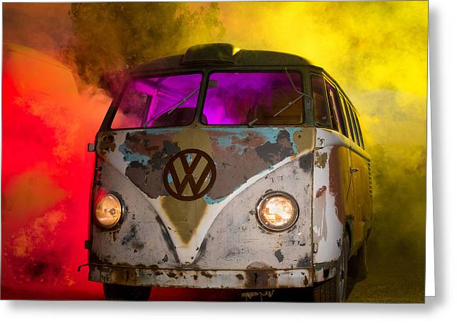 Bus In A Cloud Of Multi-color Smoke Greeting Card by Richard Kimbrough