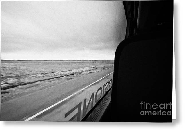 bus ride through flat lands of Tierra Del Fuego island Chile between punta arenas and ushuaia Greeting Card