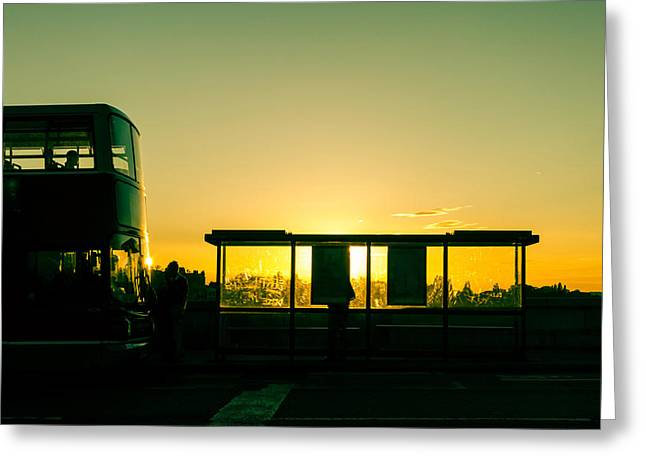 Bus Stop At Sunset Greeting Card