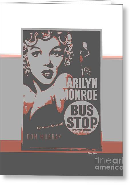 Bus Stop Greeting Card by Cheryl Young