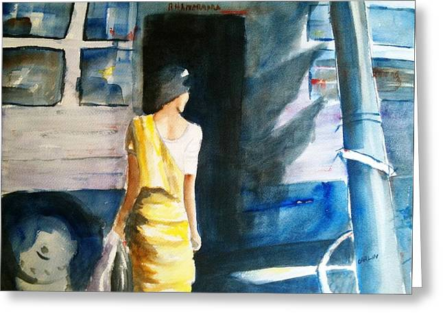 Bus Stop - Woman Boarding The Bus Greeting Card