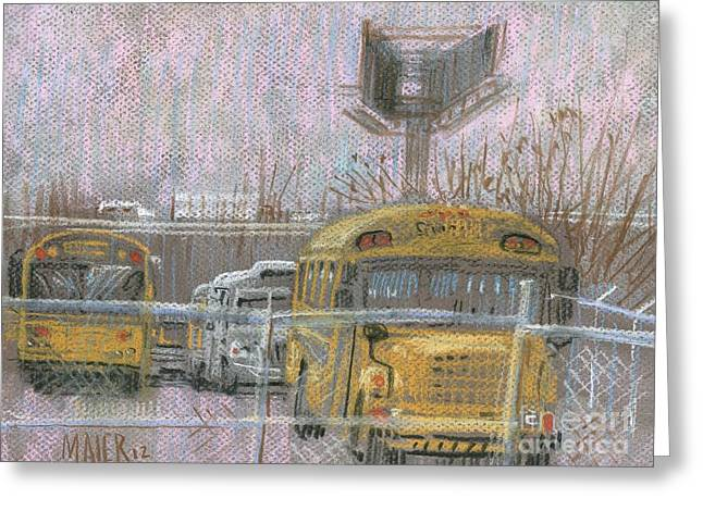 Bus Trucks And Billboards Greeting Card
