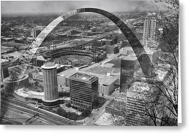 Busch Stadium Bw A View From The Arch Merged Image Greeting Card by Thomas Woolworth
