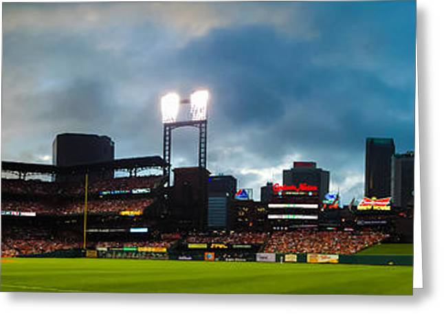 Night Game At Busch Stadium - St. Louis Cardinals Vs. Boston Red Sox Greeting Card