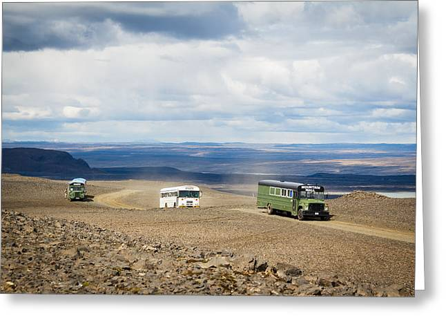 Greeting Card featuring the photograph Buses Of Landmannalaugar by Peta Thames