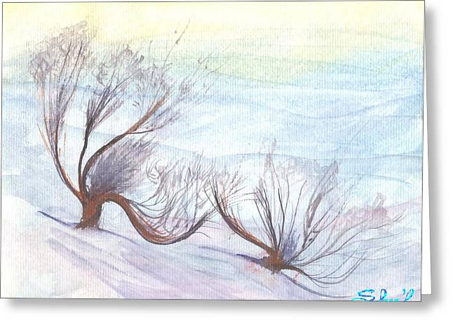 Greeting Card featuring the painting Dancing In The Snow by Sherril Porter