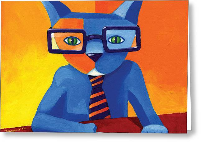 Blue Cat Greeting Cards - Business Cat Greeting Card by Mike Lawrence