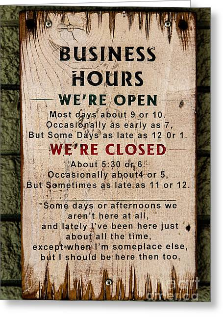 Business Hours Greeting Card by Jon Burch Photography