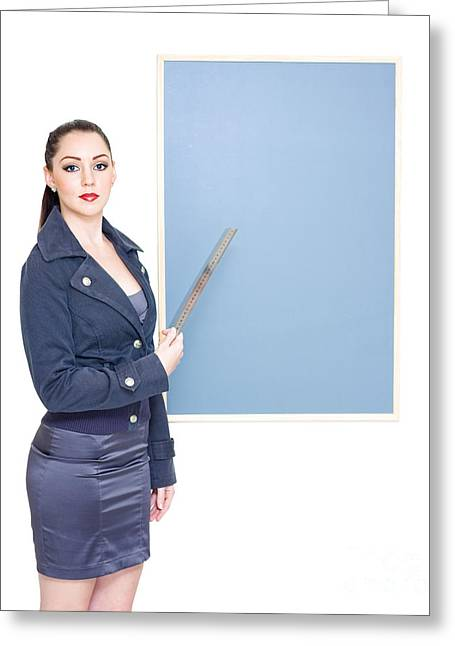 Business Marketing Woman Displaying Text Copyspace Greeting Card