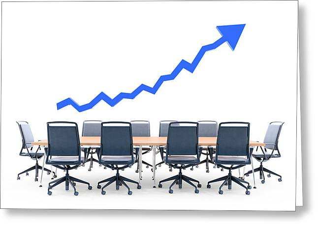 Business Meeting Table With Blue Arrow Greeting Card by Andrzej Wojcicki