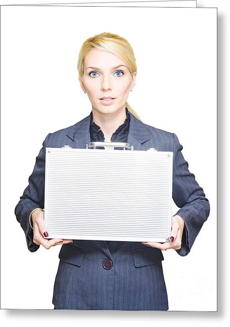 Business Woman Isolated On White Background Greeting Card