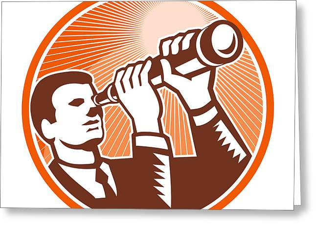 Businessman Holding Looking Telescope Woodcut Greeting Card by Aloysius Patrimonio