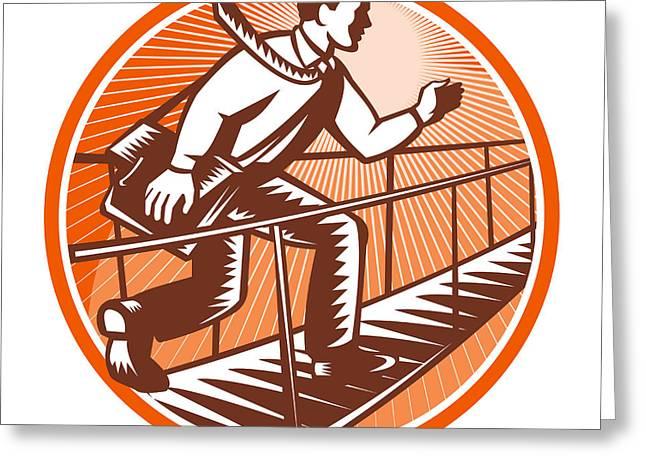 Businessman Satchel Bag Running Bridge Greeting Card by Aloysius Patrimonio