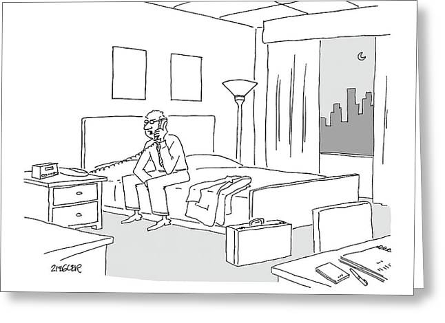 Businessman Sitting On A Bed In Hotel Room Greeting Card