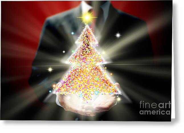 Businessman With Christmas Greeting Card