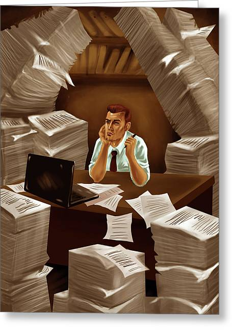 Businessman With Heap Of Papers Greeting Card