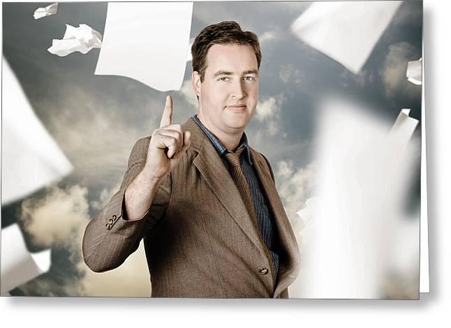 Businessman With Strategic Marketing Idea Greeting Card by Jorgo Photography - Wall Art Gallery