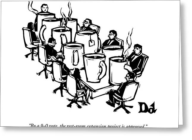 Businessmen Sit Around Conference Table Greeting Card