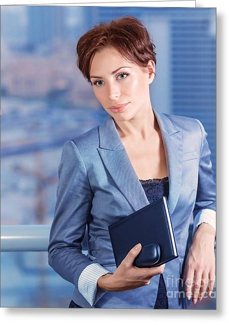 Businesswoman On The Meeting Greeting Card