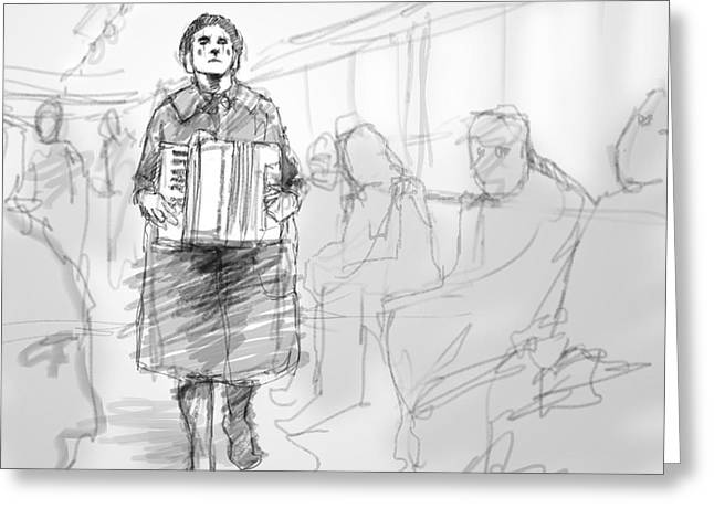 Busker On The Tram Greeting Card