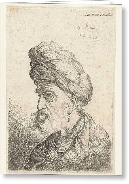 Bust Of A Man With Turban, Salomon Koninck Greeting Card