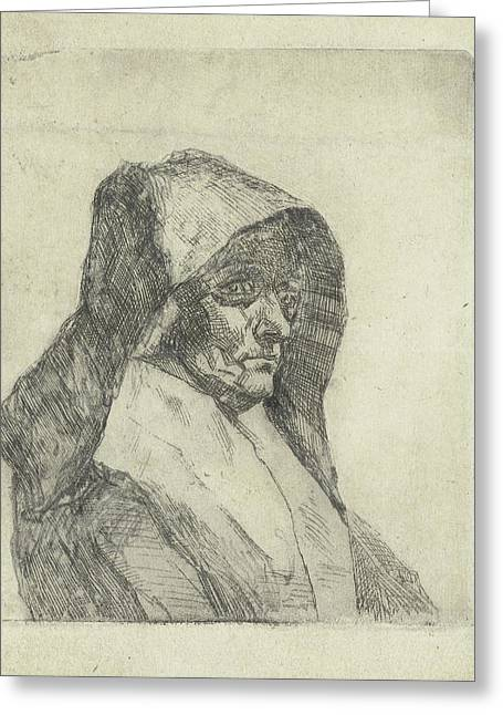 Bust Of A Woman With A Hat Greeting Card by Litz Collection
