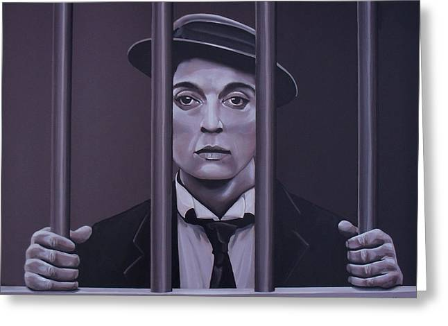Buster Keaton Painting Greeting Card by Paul Meijering