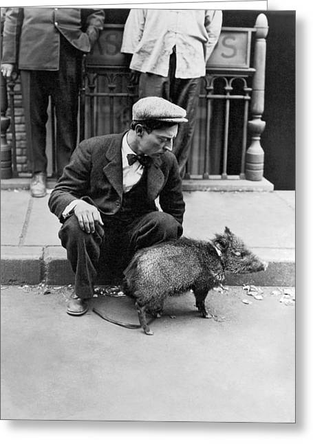 Buster Keaton With A Peccary Greeting Card by Underwood Archives