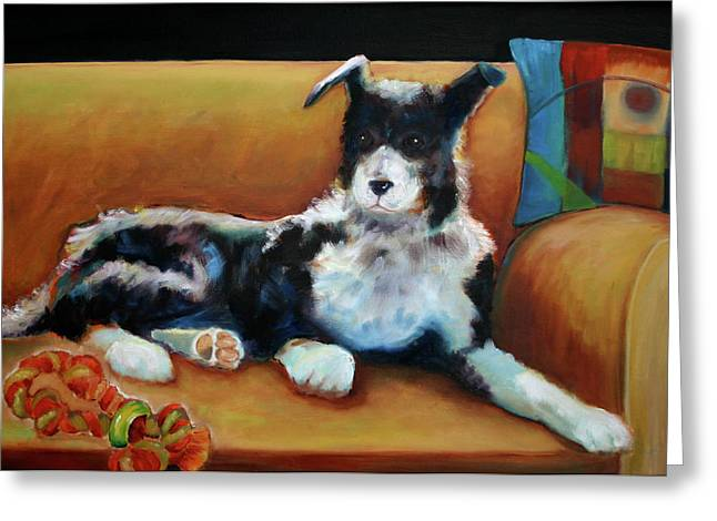 Buster The Border Collie Greeting Card