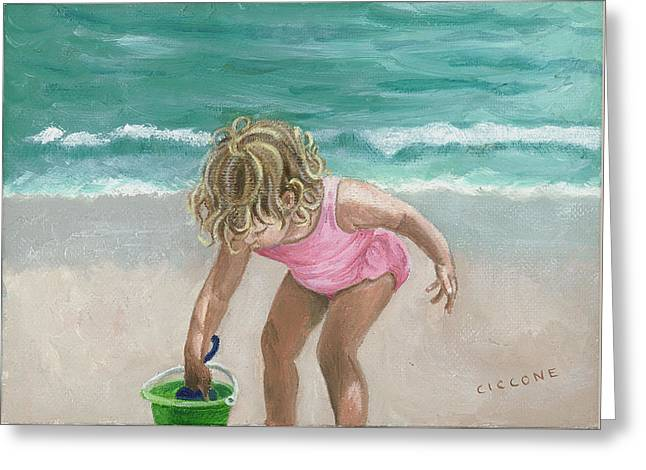 Busy Beach Girl Greeting Card