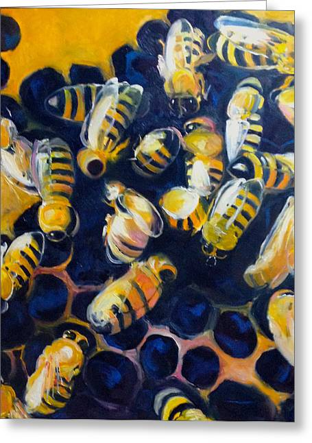 Busy Bees Greeting Card by Rebecca Gottesman
