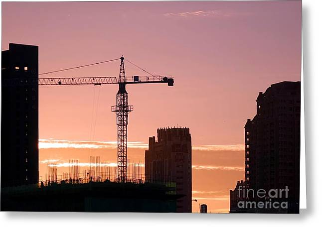 Busy City Construction Site At Sunset Greeting Card by Yali Shi