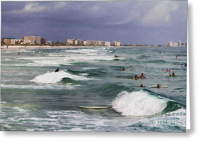Busy Day In The Surf Greeting Card by Deborah Benoit