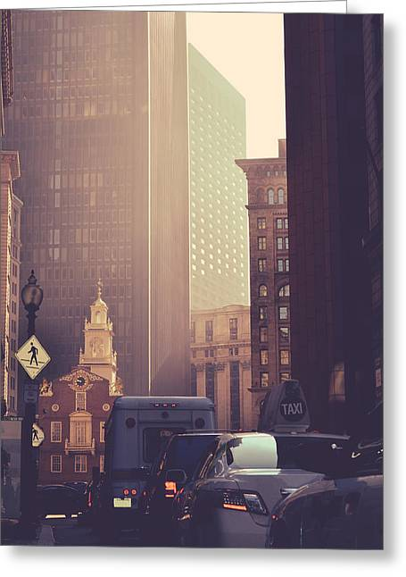 Busy Downtown Boston Usa Greeting Card