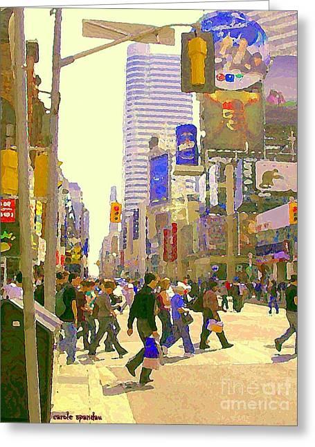 Busy Downtown Street Scene Crosswalk At Eatons Center Toronto Paintings Urban Canadian Art C Spandau Greeting Card by Carole Spandau