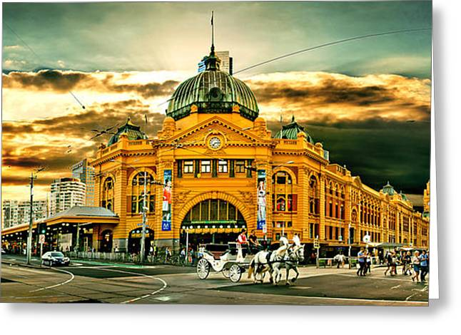 Busy Flinders St Station Greeting Card by Az Jackson