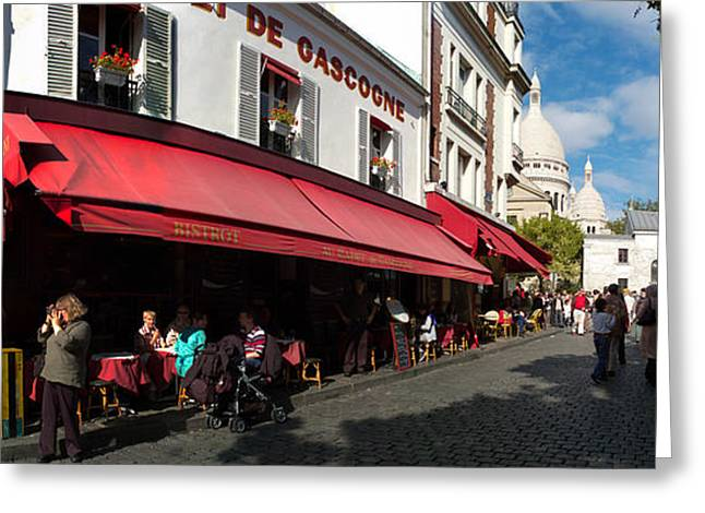 Busy Street Lined With Bistros Greeting Card by Panoramic Images