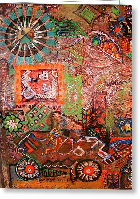 Busy Wheels Greeting Card by Anne-Elizabeth Whiteway
