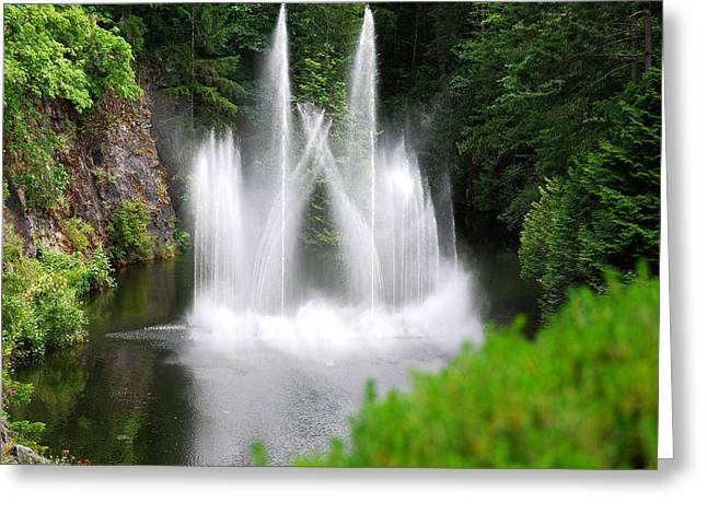 Butchart Gardens Waterfalls Greeting Card by Lisa Phillips