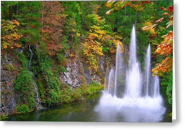 Butchart Waterfall And Fountain-- Greeting Card