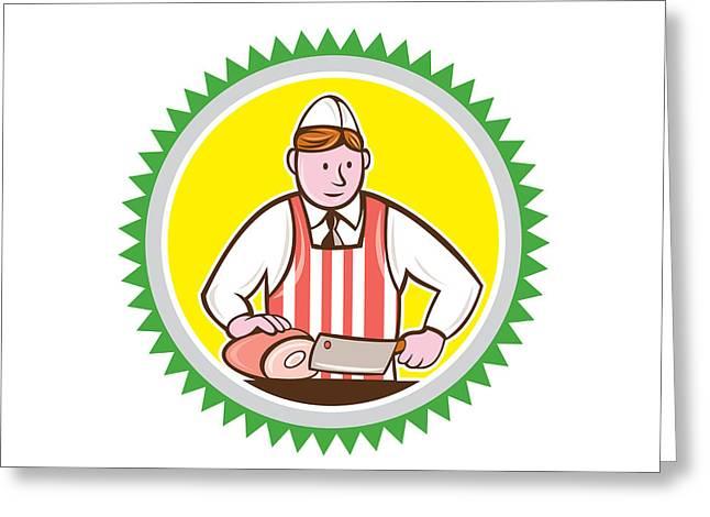 Butcher Chopping Ham Rosette Cartoon Greeting Card by Aloysius Patrimonio