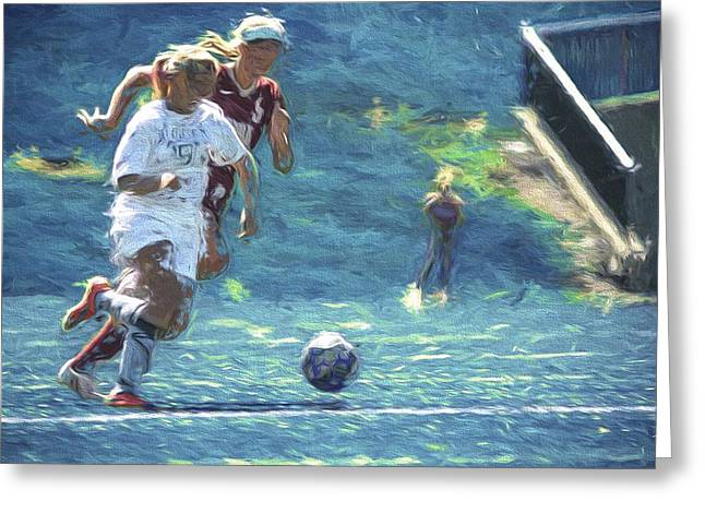 Butler University Soccer Athlete Sophia Maccagnone Painted Digitally Greeting Card by David Haskett