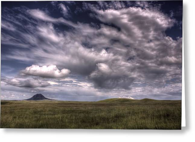 Butte In The Shadows Greeting Card