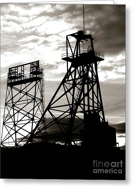 Butte Montana Headframe Greeting Card by David Bearden