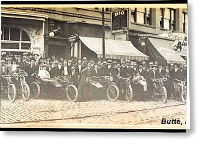 Butte Motorcycle Club 1914 Sepia Tone Greeting Card