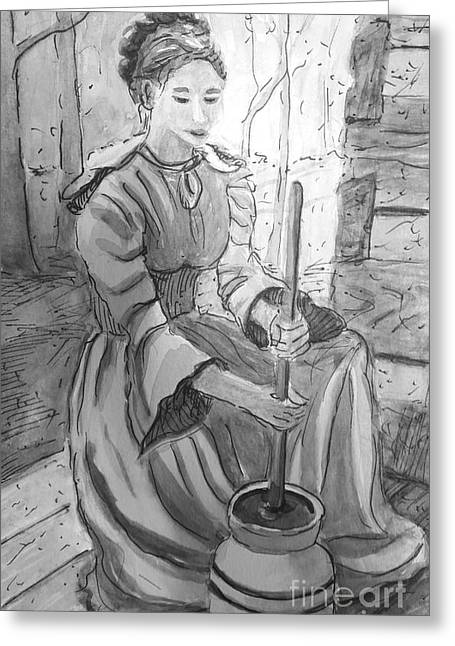 Butter Churner In Black And White Greeting Card by Gretchen Allen