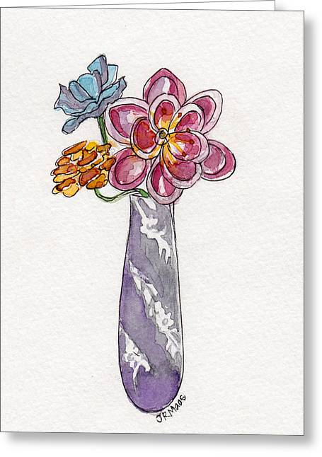 Greeting Card featuring the painting Butter Knife Vase With Flowers by Julie Maas
