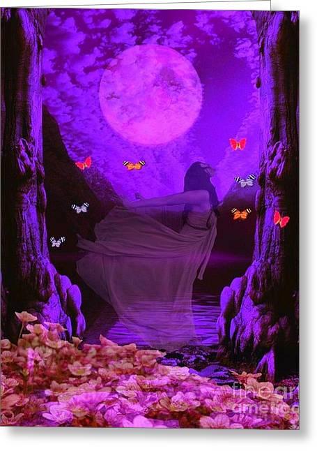 Butterflie Fantasy Scene Greeting Card by Jessie Art