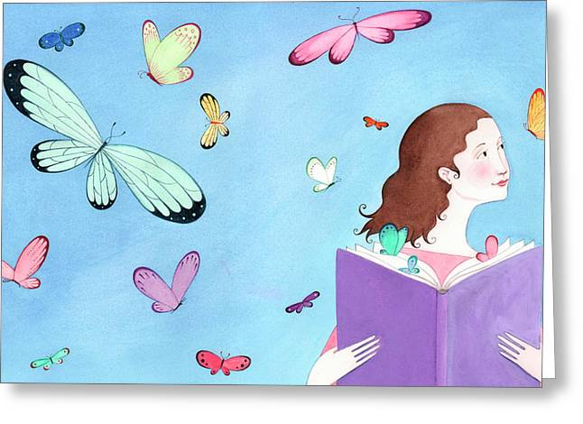 Butterflies Flying Around Girl Reading Greeting Card